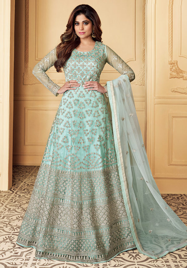Light Aqua Embroidered Net Anarkali