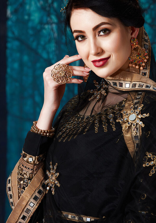 Black Mirror Work Embroidered Anarkali