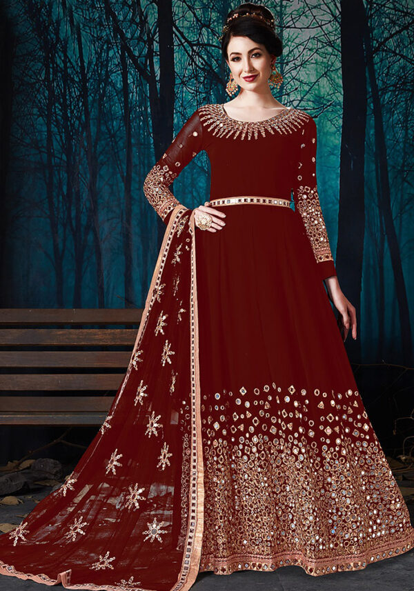 Maroon Mirror Work Embroidered Anarkali
