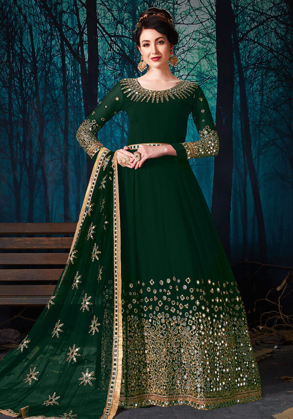 Green Mirror Work Embroidered Anarkali