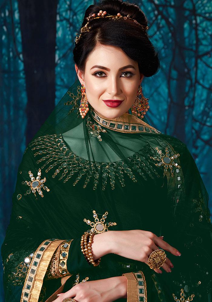Green Mirror Work Embroidered Anarkali