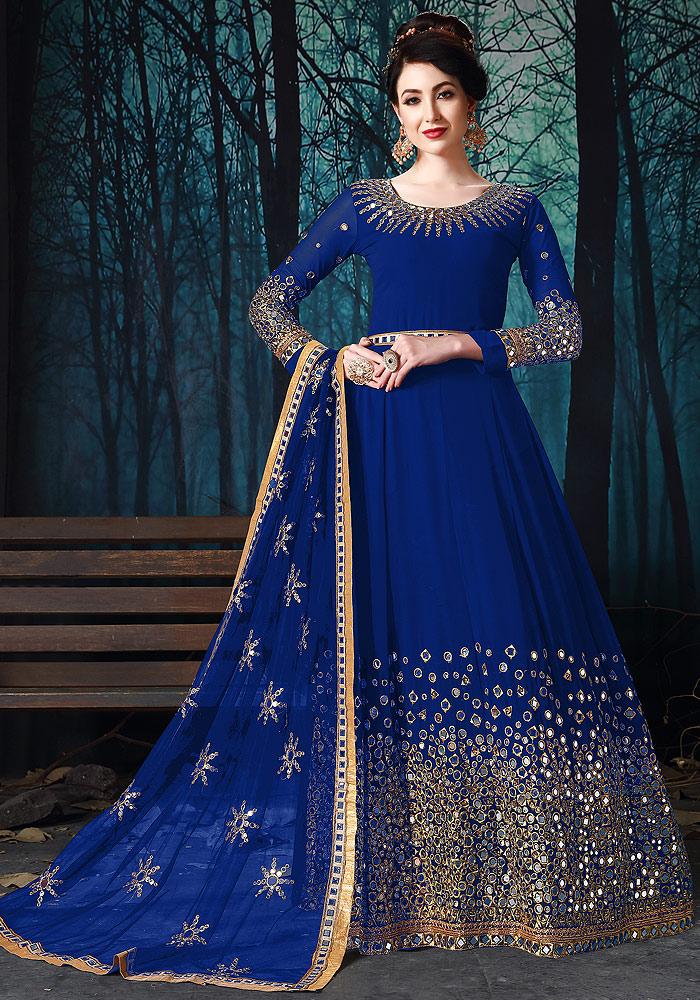 Blue Mirror Work Embroidered Anarkali
