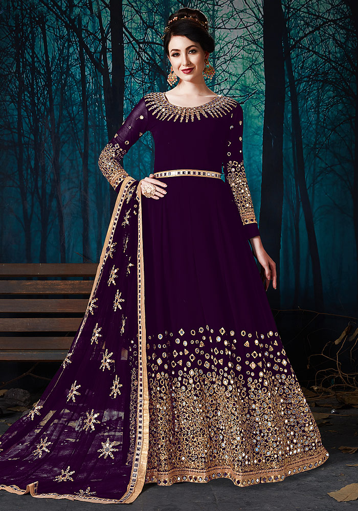 Purple Mirror Work Embroidered Anarkali