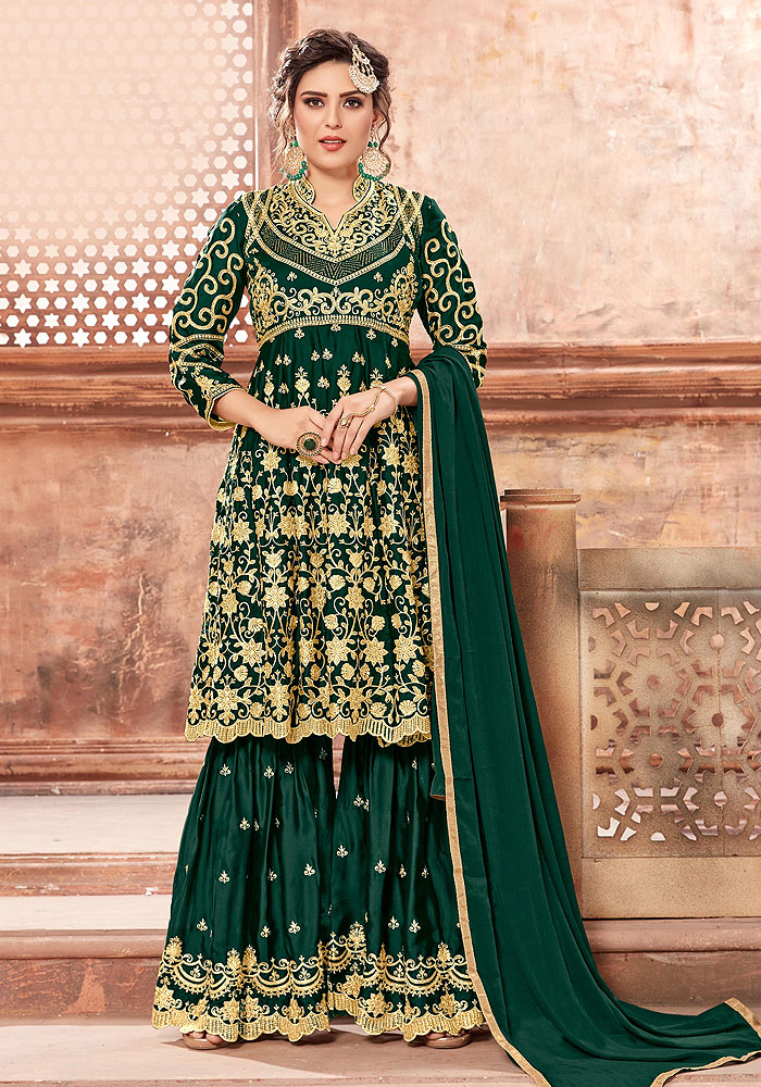 Green Heavy Embroidered Sharara Suit