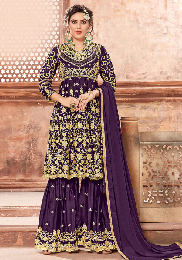 Purple Heavy Embroidered Sharara Suit