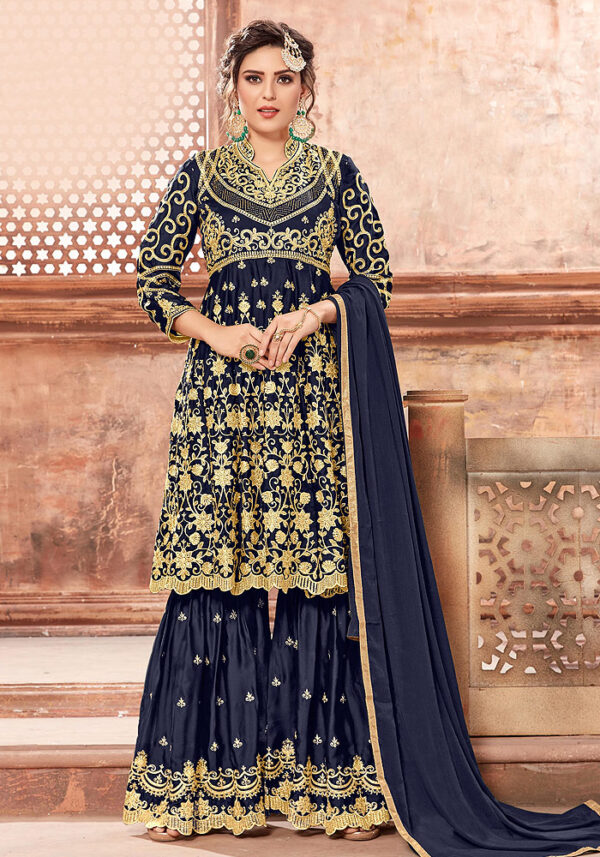 Blue Heavy Embroidered Sharara Suit