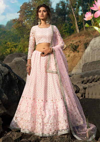Light Pink Embroidered Net Lehenga