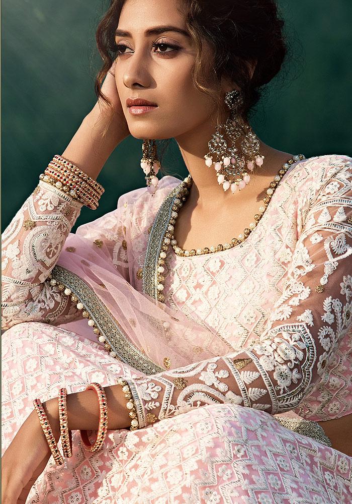 Light Pink Embroidered Net Lehenga