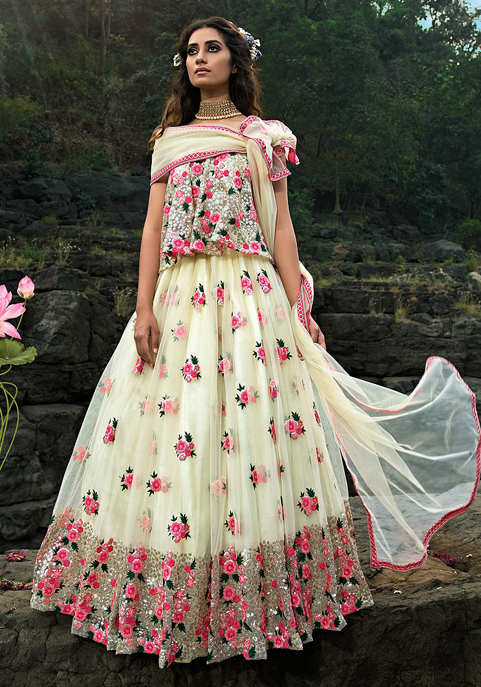 Offwhite Floral Embroidered Net Lehenga