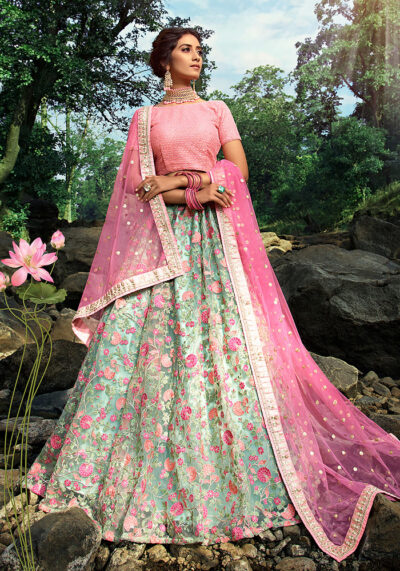 Green and Pink Embroidered Net Lehenga