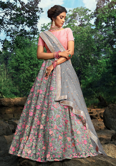 Grey and Pink Embroidered Net Lehenga