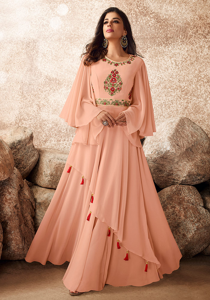 Light Peach Embroidered Gown