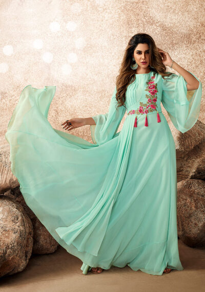Light Mint Embroidered Gown