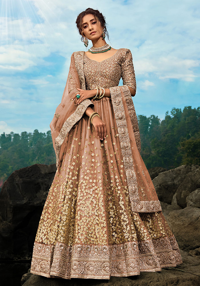 Brown Embroidered Net Lehenga