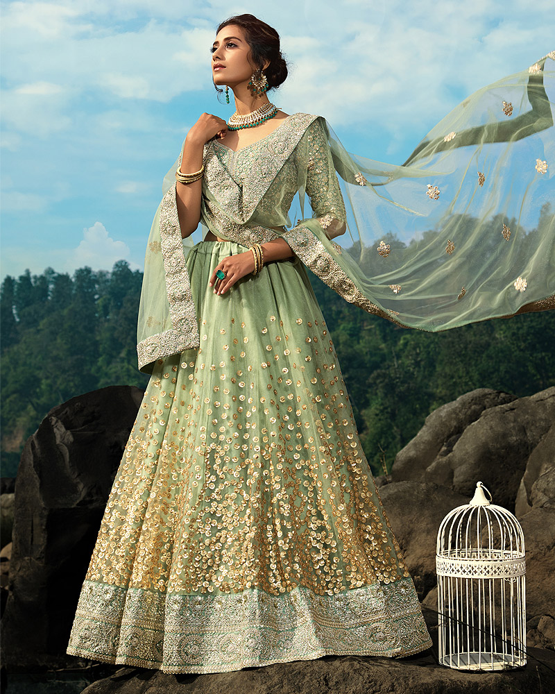 Green Embroidered Net Lehenga