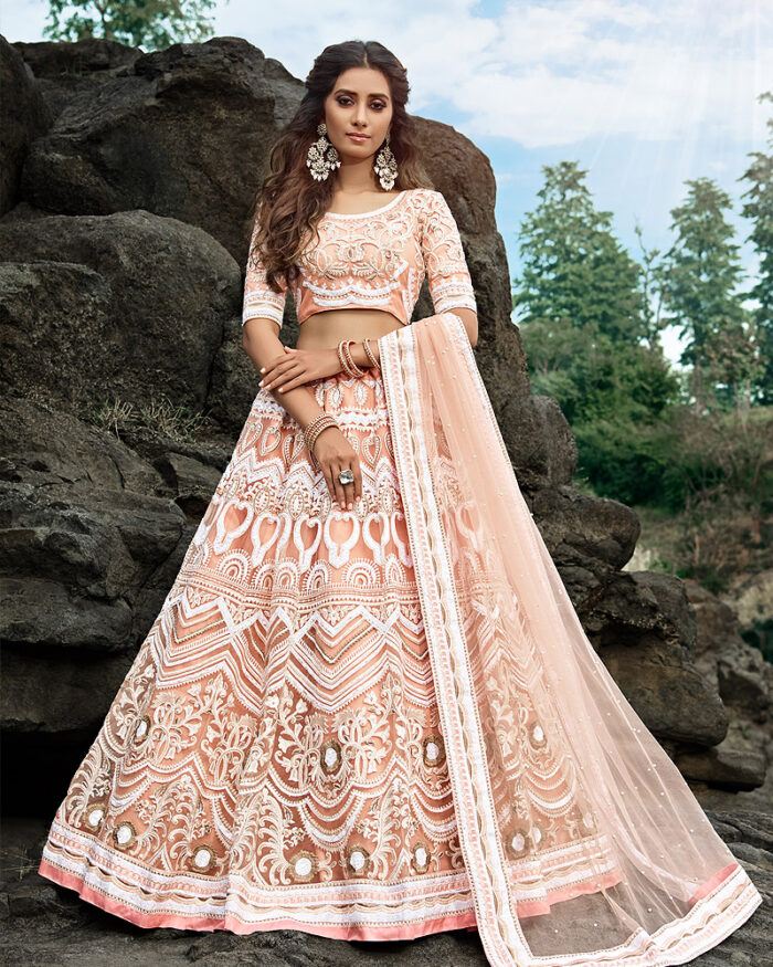 Peach Embroidered Net Lehenga