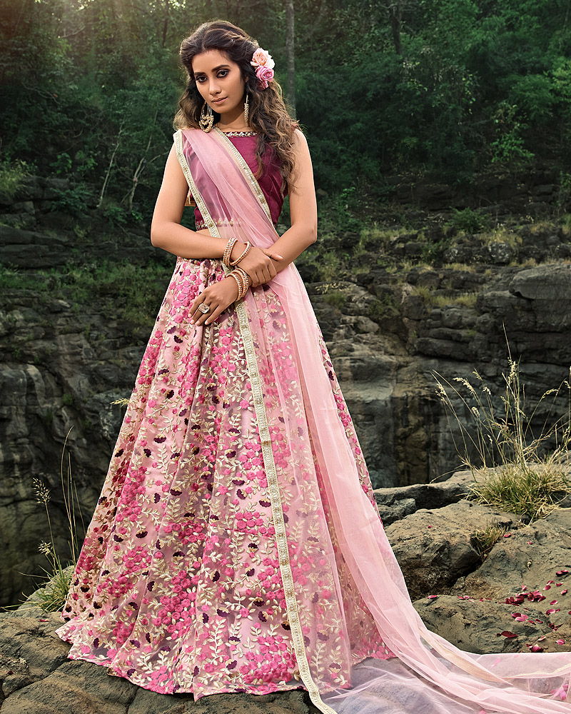 Pink Multicolor Embroidered Net Lehenga