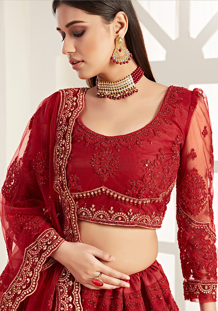 Red Heavy Embroidered Lehenga