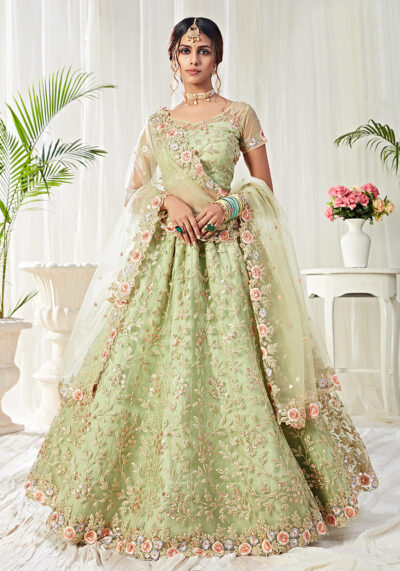 Pista Green Heavy Embroidered Lehenga