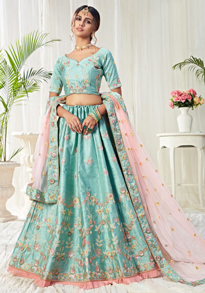 Ice Blue Heavy Embroidered Lehenga
