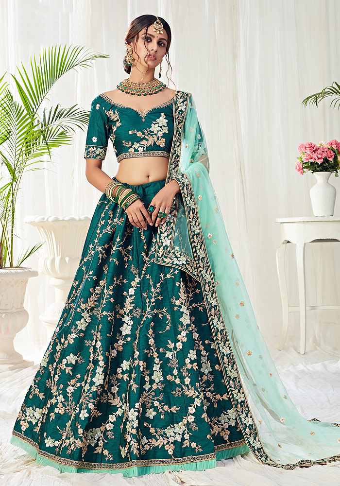 Dark Green Heavy Embroidered Lehenga