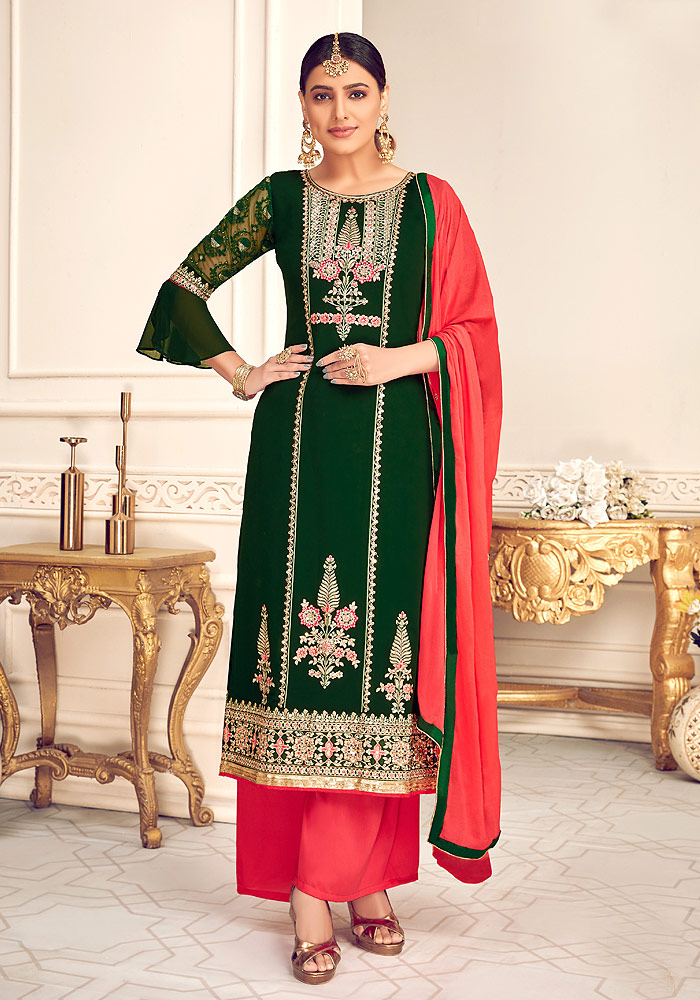 Green and Red Embroidered Palazzo Suit