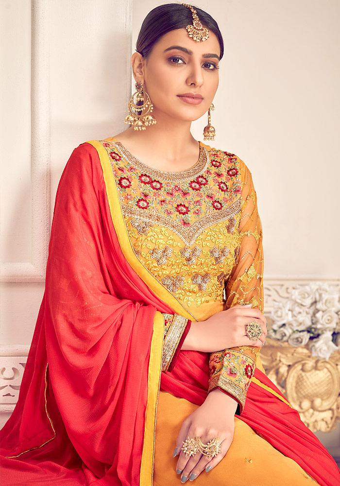 Yellow and Red Embroidered Palazzo Suit