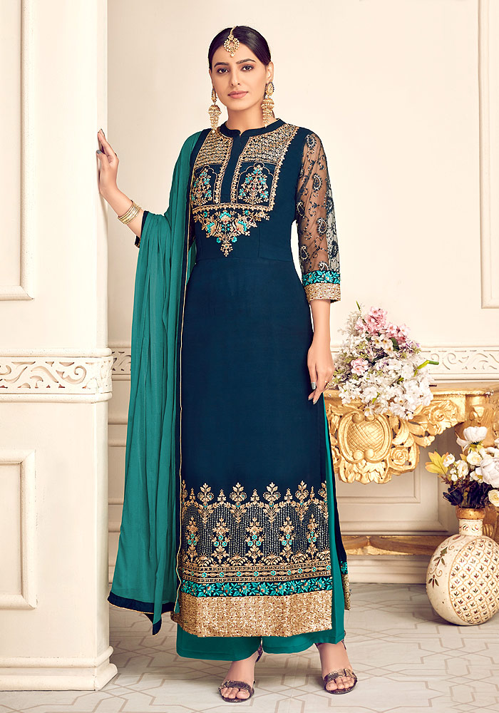 Blue and Teal Embroidered Palazzo Suit