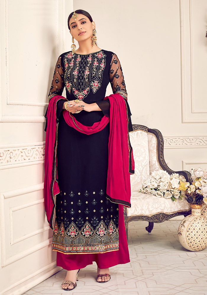 Blue and Pink Embroidered Palazzo Suit