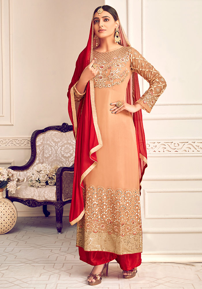 Beige and Red Embroidered Palazzo Suit