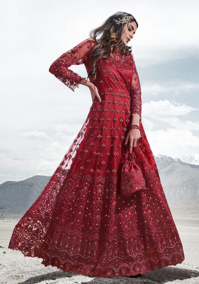 Bridal Red Embroidered Anarkali/ Pant Suit