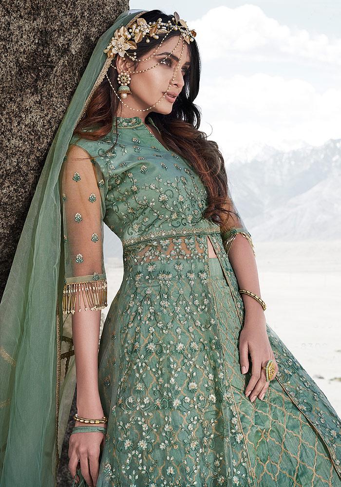 Green Embroidered Lehenga Anarkali