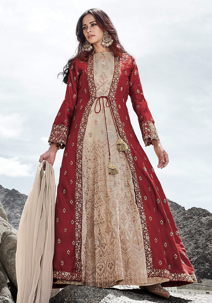 Red and Beige Embroidered Jacket Style Anarkali