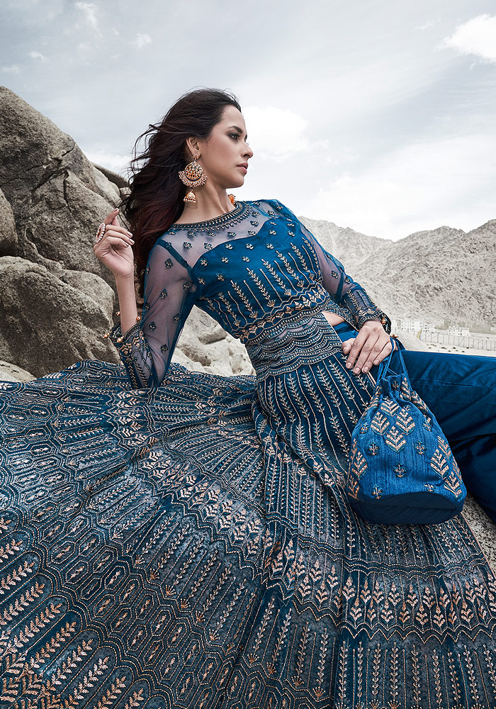 Dark Blue Embroidered Anarkali/ Pant Suit
