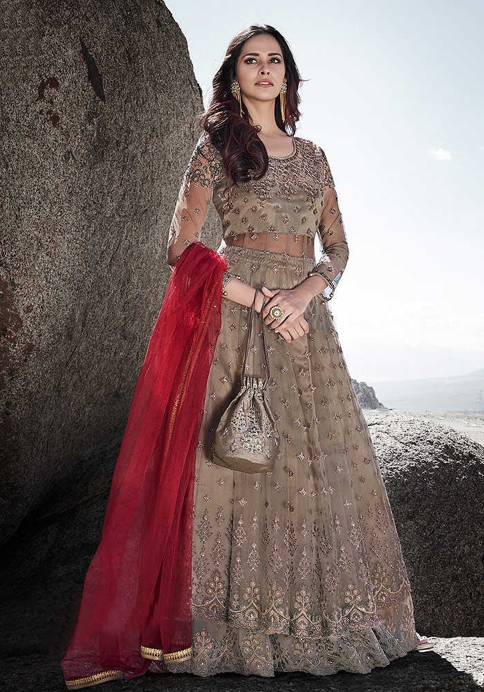 Grey and Red Embroidered Lehenga Anarkali