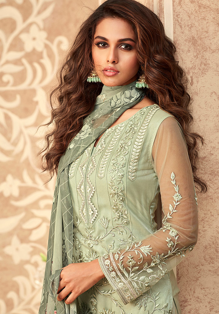 Green Embroidered Pant Suit