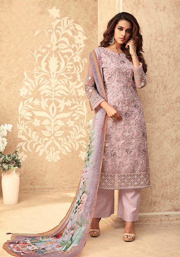 Light Purple Embroidered Pant Suit