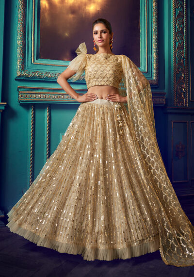 Dusty Beige Embroidered Lehenga