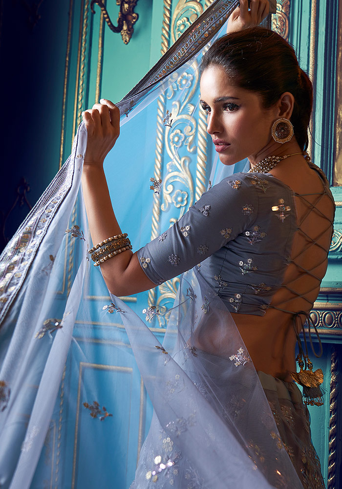 Grey Embroidered Lehenga