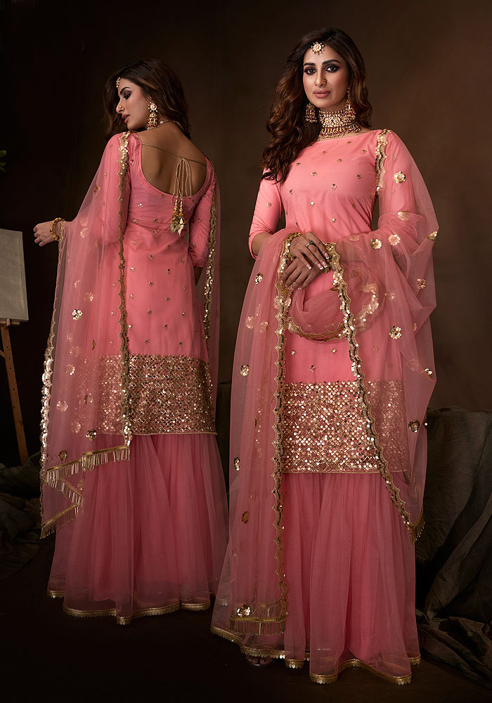 Pink Embroidered Gharara Suit
