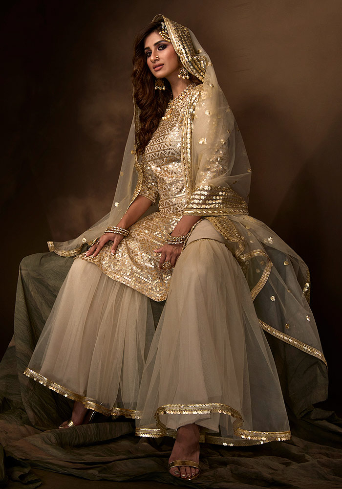 Dusty Beige Embroidered Gharara Suit