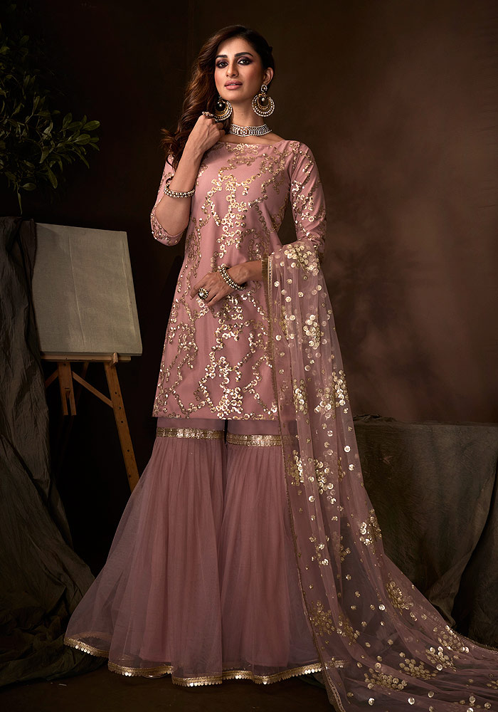 Purple Embroidered Gharara Suit