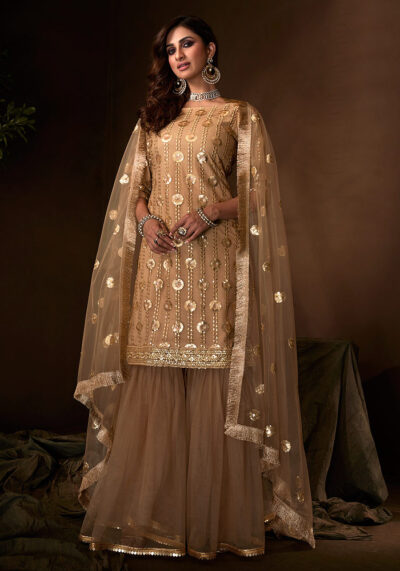 Beige Embroidered Gharara Suit