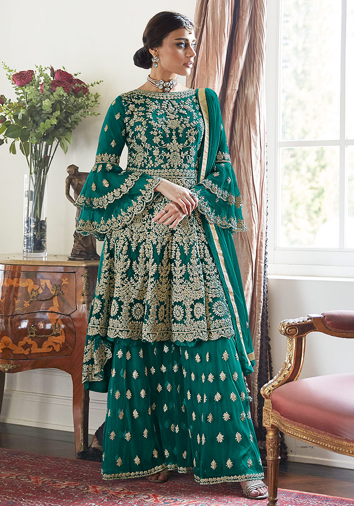 Sea Green Embroidered Net Sharara Suit