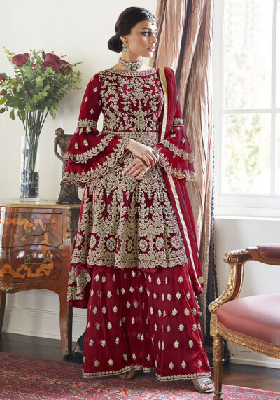 Maroon Embroidered Net Sharara Suit