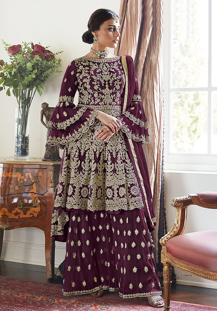 Purple Embroidered Net Sharara Suit