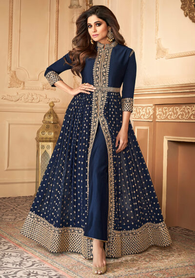 Blue Embroidered Pant Style Anarkali