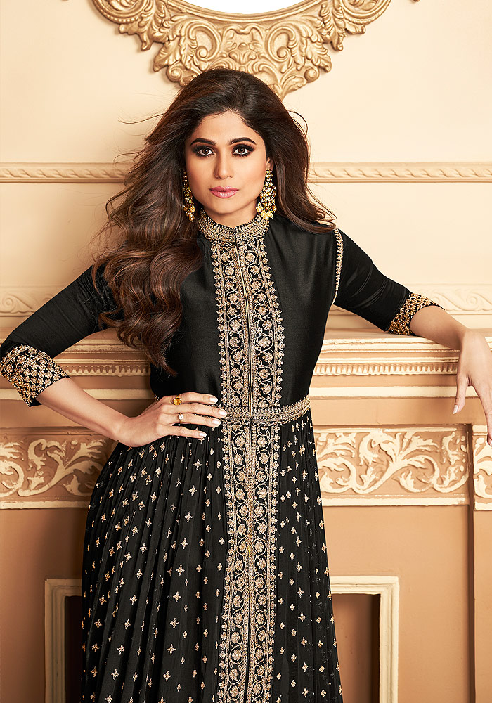 Black Embroidered Pant Style Anarkali