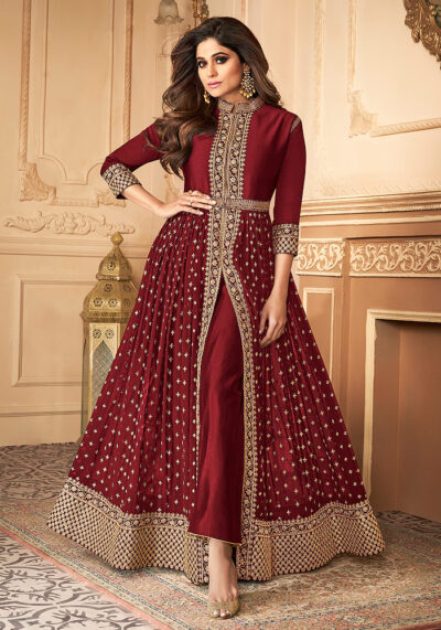 Red Embroidered Pant Style Anarkali
