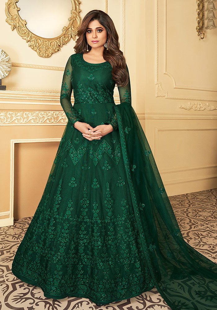 Green Embroidered Anarkali
